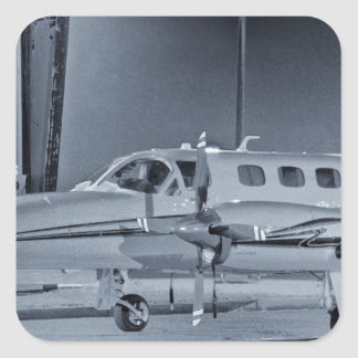 "Airplane ""black white"" photo picture HDR T-Shirt Square Stickers"