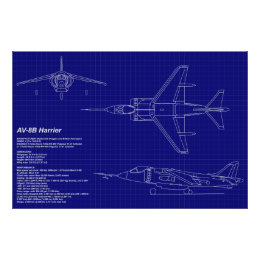 Airplane blueprints art framed artwork zazzle airplane blueprints av 8b harrier poster malvernweather Choice Image
