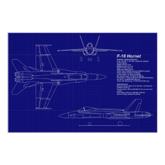 Airplane Blueprints | F-18 Hornet Posters