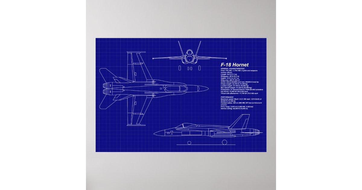 Airplane Blueprints F 18 Hornet Poster Zazzle Com