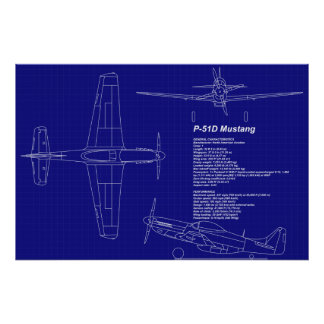 Airplane Blueprints   P-51 Mustang Poster