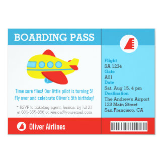 Airplane Boarding Pass Birthday Party Personalized Announcements