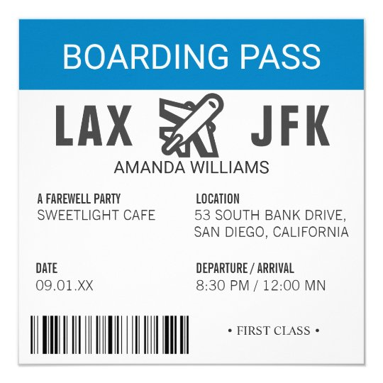 Airplane Ticket Boarding Pass Birthday Invitation: Airplane Boarding Pass Farewell Party Card