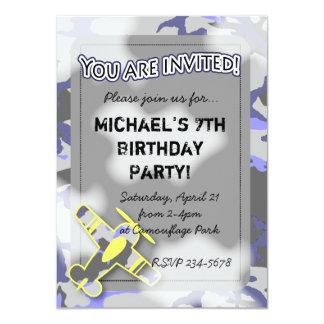 Airplane Camouflage Birthday Invitation