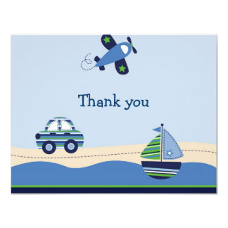 """Airplane Car Boat Boys Thank You Note Cards 4.25"""" X 5.5"""" Invitation Card"""