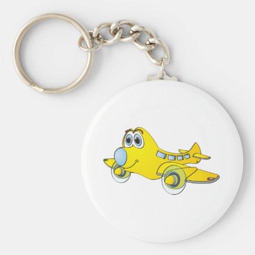 Airplane Cartoon Basic Round Button Keychain