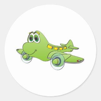 Airplane Cartoon Classic Round Sticker