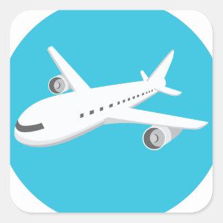 Airplane Cartoon Square Sticker