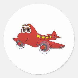 Airplane Cartoon Round Sticker