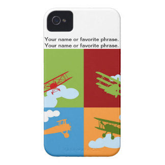 Airplane collage on blue, redm green and orange. Case-Mate iPhone 4 case