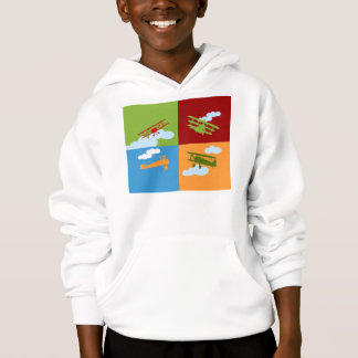 Airplane collage on blue, redm green and orange. hoodie