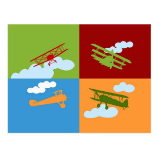Airplane collage on blue, redm green and orange. postcard