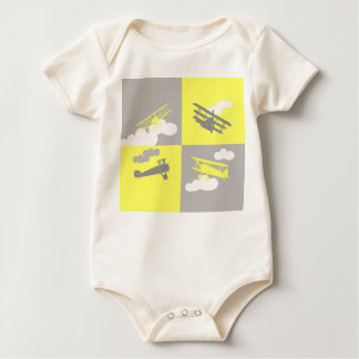 Airplane collage on grey and yellow. baby bodysuit