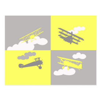 Airplane collage on grey and yellow. postcard