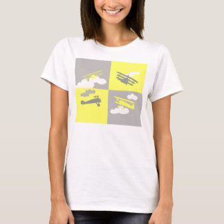 Airplane collage on grey and yellow. T-Shirt