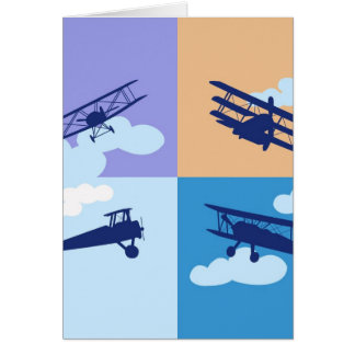 Airplane collage on pastel colors. card