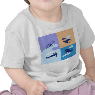 Airplane collage on pastel colors. shirts