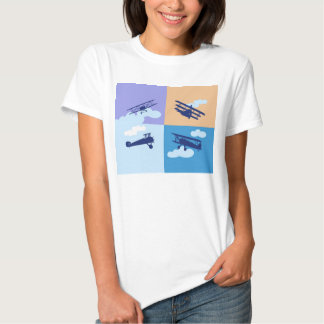 Airplane collage on pastel colors. t-shirt