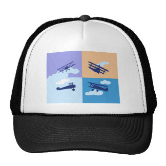 Airplane collage on pastel colors. trucker hat