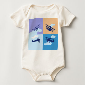 Airplane collage on pastel colors. romper