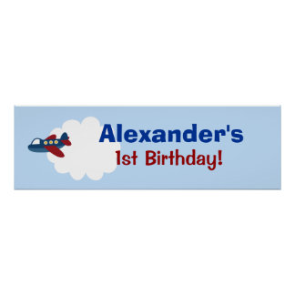 Airplane Custom Birthday Banner Poster Print Poster