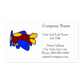 Airplane Cute Colorful Cartoon Plane Double-Sided Standard Business Cards (Pack Of 100)