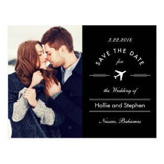 Airplane Destination the Date Postcard