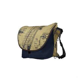 Airplane Diagram Vintage Style Navy Messenger Bag