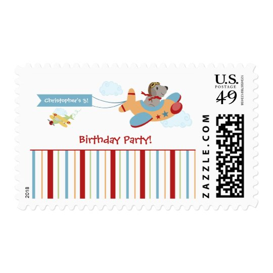 Airplane dog pilot boy's birthday party stamps