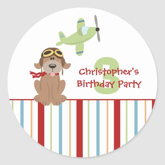 Airplane dog pilot boy's birthday party stickers