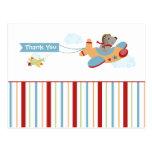 Airplane dog pilot boy's thank you postcard