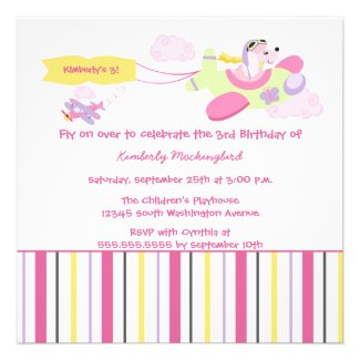 Airplane dog pilot girls birthday party invitation