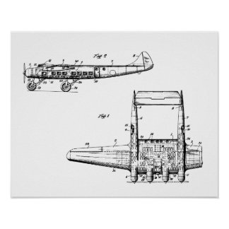 Airplane Drawing Poster