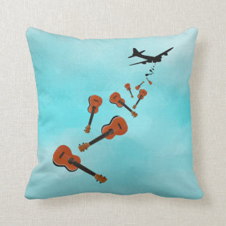 Airplane Dropping Ukuleles Throw Pillow