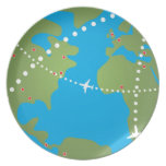 Airplane Flight Paths Party Plate