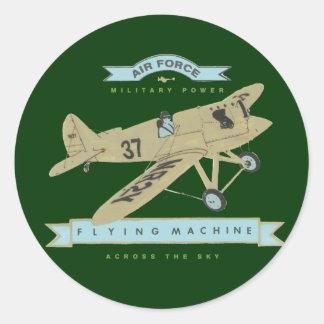 Airplane fly classic round sticker