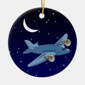 Airplane flying at night with moon & stars. Pilot Ceramic Ornament