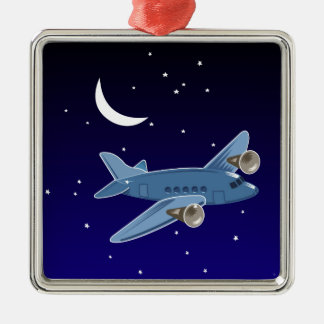 Airplane flying at night with moon & stars. Pilot Metal Ornament