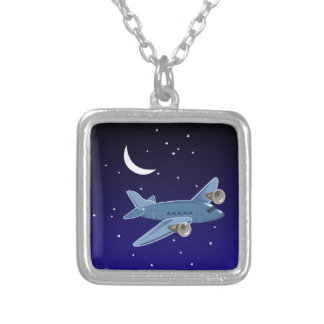 Airplane flying at night with moon & stars. Pilot Silver Plated Necklace
