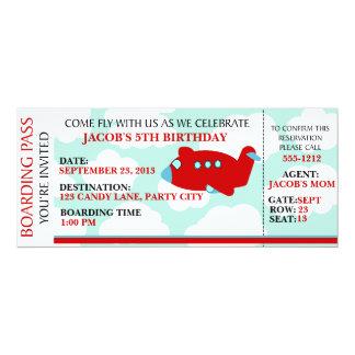 "Airplane Flying birthday invitation customize 4"" X 9.25"" Invitation Card"