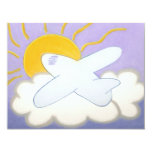 """Airplane Flying Home Adoption Announcement 4.25"""" X 5.5"""" Invitation Card"""