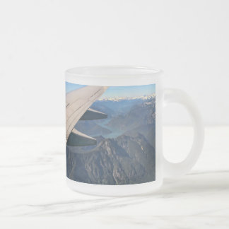 Airplane Flying Over the Rocky Mountains 10 Oz Frosted Glass Coffee Mug