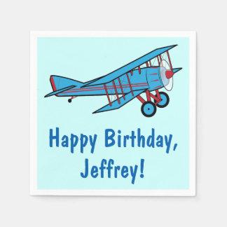 Airplane Happy Birthday Name Customizable Paper Napkin