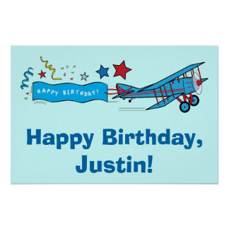 Airplane Happy Birthday Name Customizable Poster
