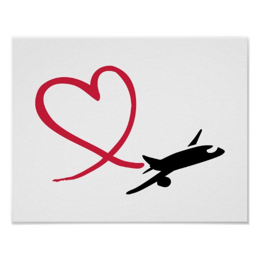 Airplane heart love poster