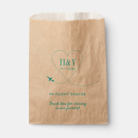 Airplane Heart Travel Theme Treat Snack Goody Favor Bag