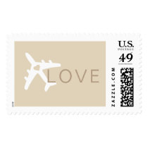 Airplane Heart Wedding Love Stamp Tan