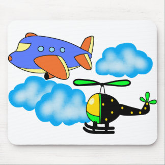 airplane helicopter on sky mouse pad