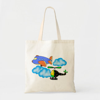 airplane helicopter on sky tote bag