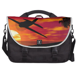 Airplane in a Tropical Sunset Bag For Laptop